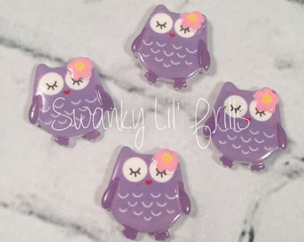 Owl Resin Flatback,  Owl Resin 22mm Flatback, Lavender Owl, Lavender, Flatback, Hairbows, Accessories, Scrapbooking