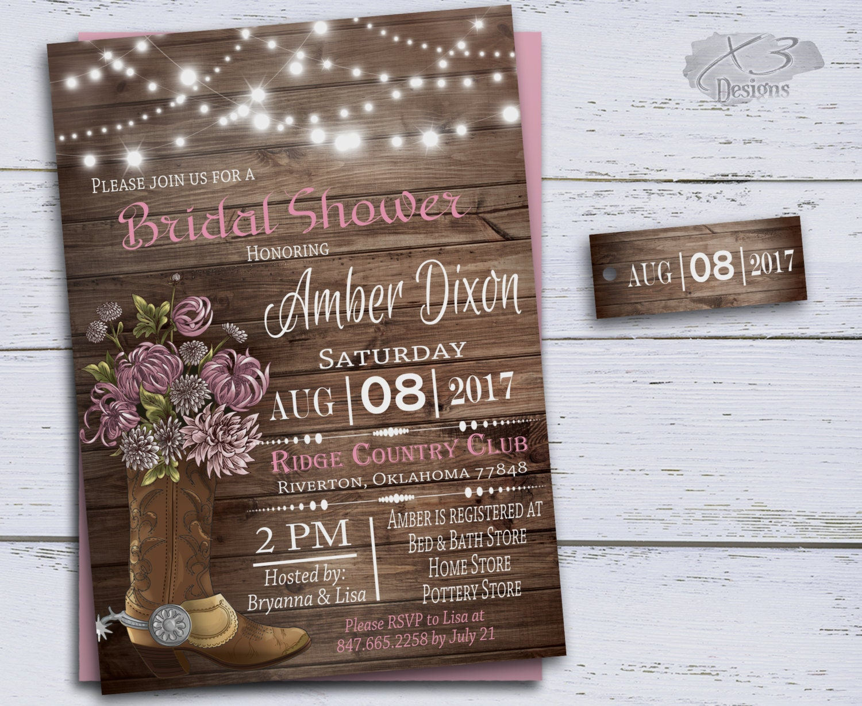 Rustic Western Wedding Invitations: Rustic Wedding Shower Invitations Pink Western Wedding