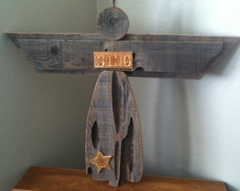 Recycled wood angel with ceramic accents
