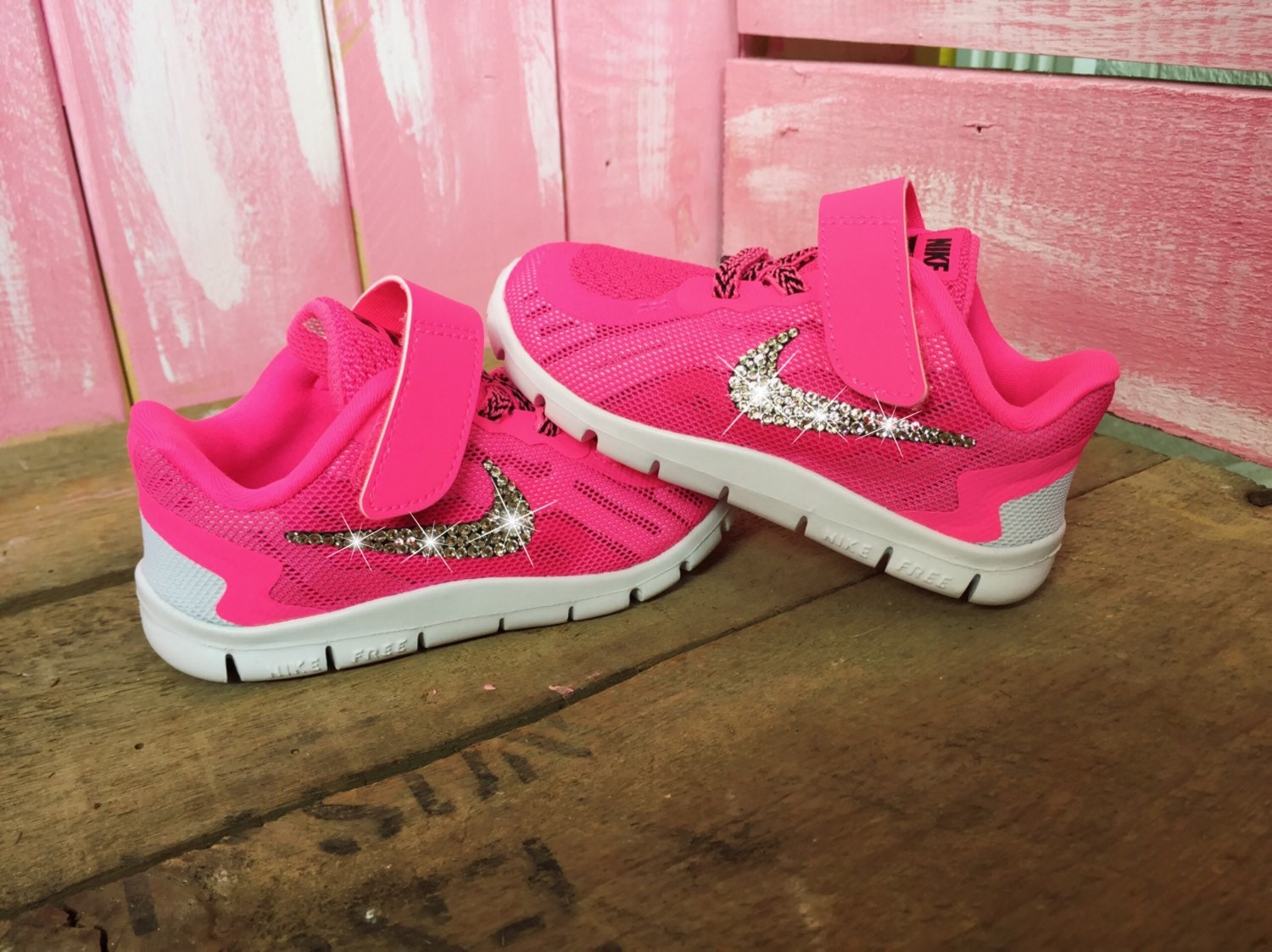 SALE Size 6C Blinged Baby Girls' Nike Free 5 Shoes Pink