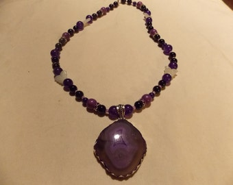 Hand made one of a kind Necklace  Purple Jade
