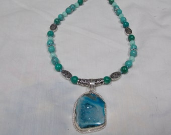 Hand made,beaded necklace, never made again. Turquoise Druzy
