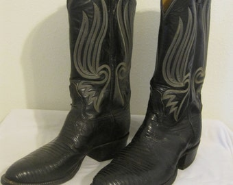 Men's Vintage Tony Lama Black Lizard Skin Cowboy Boots
