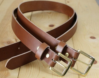 "Handmade Genuine Buffalo Leather Belt_1.5"" Men's Leather Belt_Light Brown"