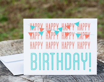 Happy Birthday Card | Screenprinted Card | Hand Illustrated Card | Blank Handmade Card