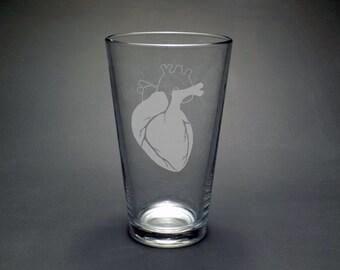 Anatomical Heart Pint Glass - Biology Teacher Gift - College Graduation Gift - Med School Glass - Nurse Pint Glass - Cardiology Pint Glass