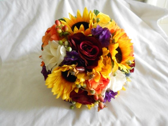 Sunflowers and fall wedding bouquet set orange yellow and purple 17 pc