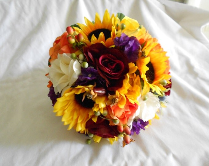 Sunflowers  fall  bridal wedding bouquet set orange yellow and purple 17 pc