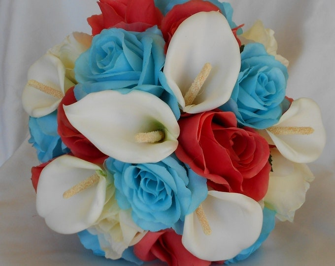 Coral and turquoise bridal set silk bouquet 7 pieces