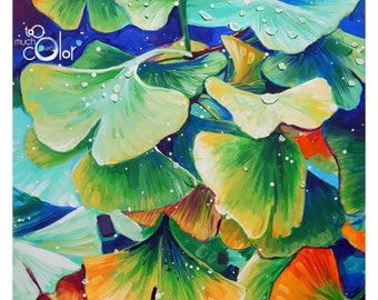 "Ginkgo Biloba - Original colorful traditional acrylic painting on paper 9""x12"""