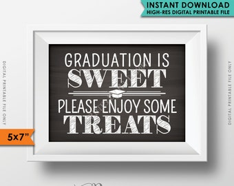 """Graduation is Sweet Please Enjoy Some Treats, Sweet Treats Graduation Party Sign, Candy, 5x7"""" Chalkboard Style Printable Instant Download"""