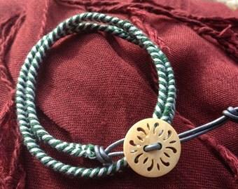 Green, White, Grey Braided Wrap Bracelet