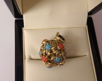 14ct Yellow Gold Coral & Turquoise Pendat/Charm