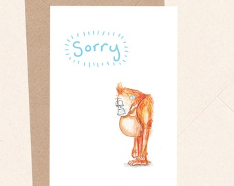 Funny Sorry Card, Apology Card, Cute Sorry Card, Baby Orangutan