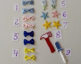 Mini Bows, Flowers, Stars and Embellishmemts