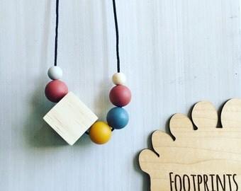 SALE. Minimalist cube. Mustard, Marsala & Dim Grey on wood.