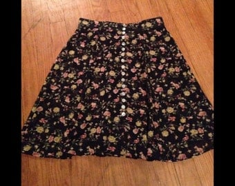 90s Sheer High Waisted Floral Skirt- See Through