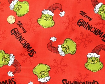 GRINCH Merry Grinchmas / Christmas Fabric, Screen Printed On Red Background ~Fat Quarter / FQ  ~100% Cotton, for Quilting and Crafts