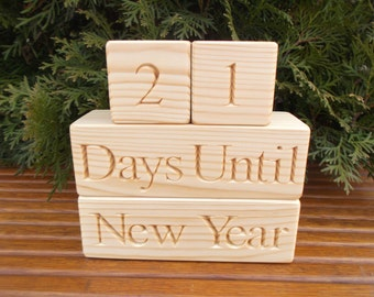 New Year Countdown blocks,Christmas Countdown blocks, Advent Calendar,Home decor,Rustic,Personalized wooden blocks,Wood signs,Christmas gift