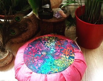 Zafu meditation cushion pillow with 100% organic buckwheat hulls handmade