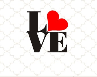 SVG Love letters with heart PNG EPS digital