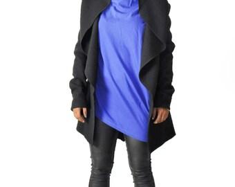 Black 100% Italian wool jacket/Casual hooded winter wool jacket/Woman extravagant long sleeves jacket/Black winter hooded coat/A1234