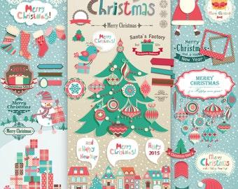 christmas clipart, christmas clip art, christmas vectors, christmas elements, christmas scrapbook,