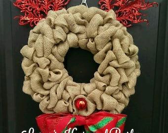 Rudolph wreath, Christmas wreath, Holiday Wreath, Christmas burlap wreath, Natural Burlap wreath, Christmas decor, Christmas