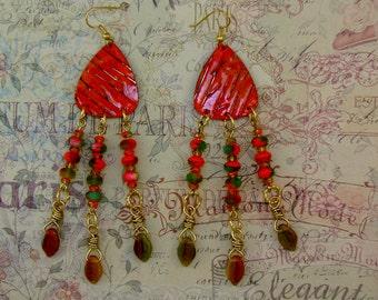 LONG DANGLE EARRINGS-Steampunk-Shabby Chic-Boho-Free Gift Included-Embossed Vintaj Brass Metal-Czech Beads-Orange-Fall-Leaves-Fun-Trendy
