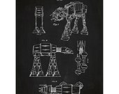Star Wars AT-AT Screen Print - ATAT Blueprint Patent Poster - Movie Art Jedi Force Han Solo Death Star force awakens kylo ren darth han solo