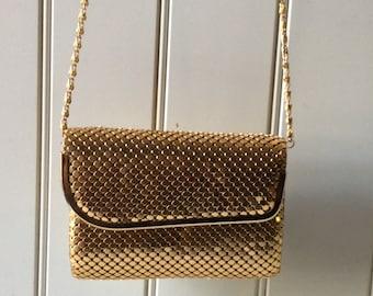 Vintage Metallic Gold Mesh Convertible Clutch/ Evening Bag/Elegant Evening Bag/Evening Bag /Gold Clutch/Formal Evening Bag/Vintage Clutch