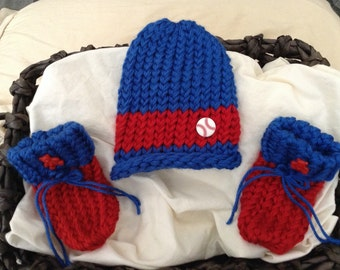 Chicago Cubs baby,Baseball baby hat,Knit Blue Baby hat,red baby booties,Red and blue Baby hat, Newborn baby hat,Chicago baby hat and booties