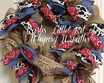 Burlap and Bandana Wreath , Rodeo Wreath, Texas Wreath, Bandana Wreath, Cowprint Wreath, Americana Wreath, Rustic Wreath, Rodeo Wreath