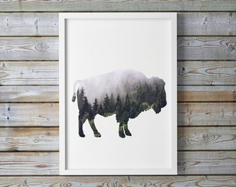 Woodland Bison, mountain, buffalo, misty, A4 8.5x11 inches, wild Buffalo, Rustic Decor, Rustic Print, Rustic, Rustic Print, Bison Printable