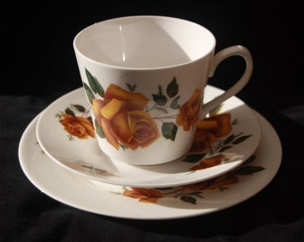 Vintage Gainsborough Cup, Saucer and Side Plate Trio with an orange rose pattern