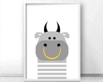 Digital Download Animal Nursery Art, Bull Nursery Print, Kids Wall Art, Farm Animal Print, Kids Print, Printable Nursery, Modern Kids Decor