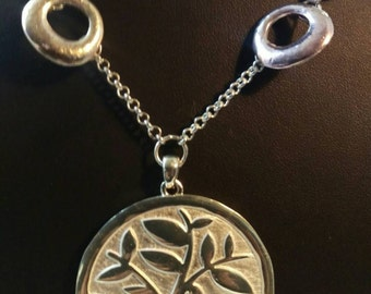 Tree of life blue and silver necklace