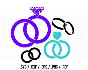 Wedding Ring SVG, Engagement Clipart, Wedding Silhouette SVG File, Vinyl Cricut Cutter, Screen Printing, Silhouette Die Cut Machine - CA216