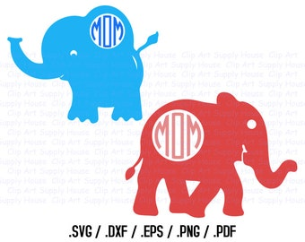 Baby Elephant SVG Clipart Files, Elephant Clipart, Silhouette Software, DXF File, SVG file, eps File, Silhouette, Cricut, Brother - CA273