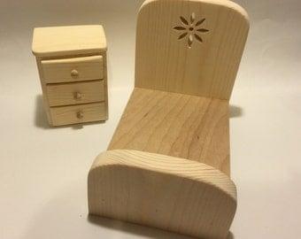 "Unfinished Doll Furniture- Youth Bedroom Set - great for dolls measuring 6-8"""