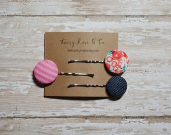 Button Bobby Pins, Set of 3