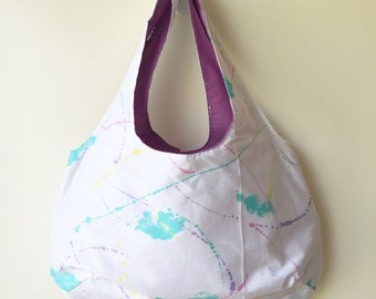 Pastel Paint Splatter Shoulder Bag Handmade by Over It! Designs