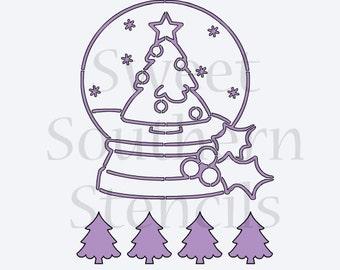 Christmas Tree Snowglobe PYO Cookie Stencil