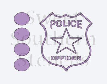 Police Badge PYO Cookie Stencil