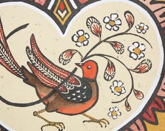 Bower Bird (March 2016) - Fraktur Inspired Folk Art Linocut Print
