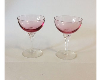 Pair of Pink Tiffin Wistaria Champagne Saucers Wine Glasses