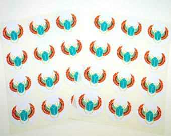 Egyptian Scarab Teal , 24 Pack of Circle Stickers : FREE SHIPPING