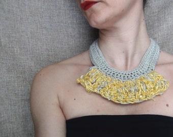 Collar necklace, crochet necklace, yarn jewellery, silk crochet, yellow necklace, textile jewellery