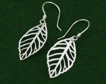 Sterling Silver Leaf Earrings, Silver Laser Cut Leaf  Earrings, Silver Leaf Dangle Earrings, Bridesmaid Earrings, Filigree Leaves Earrings