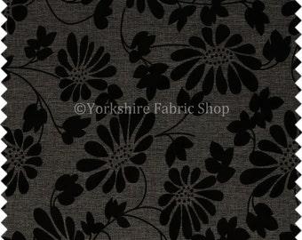 black floral chenille etsy. Black Bedroom Furniture Sets. Home Design Ideas